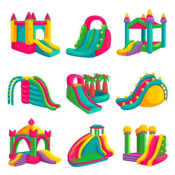 stockillustraties, clipart, cartoons en iconen met opblaasbaar helder kasteelpret voor speelplaatsreeks - mini amusementpark