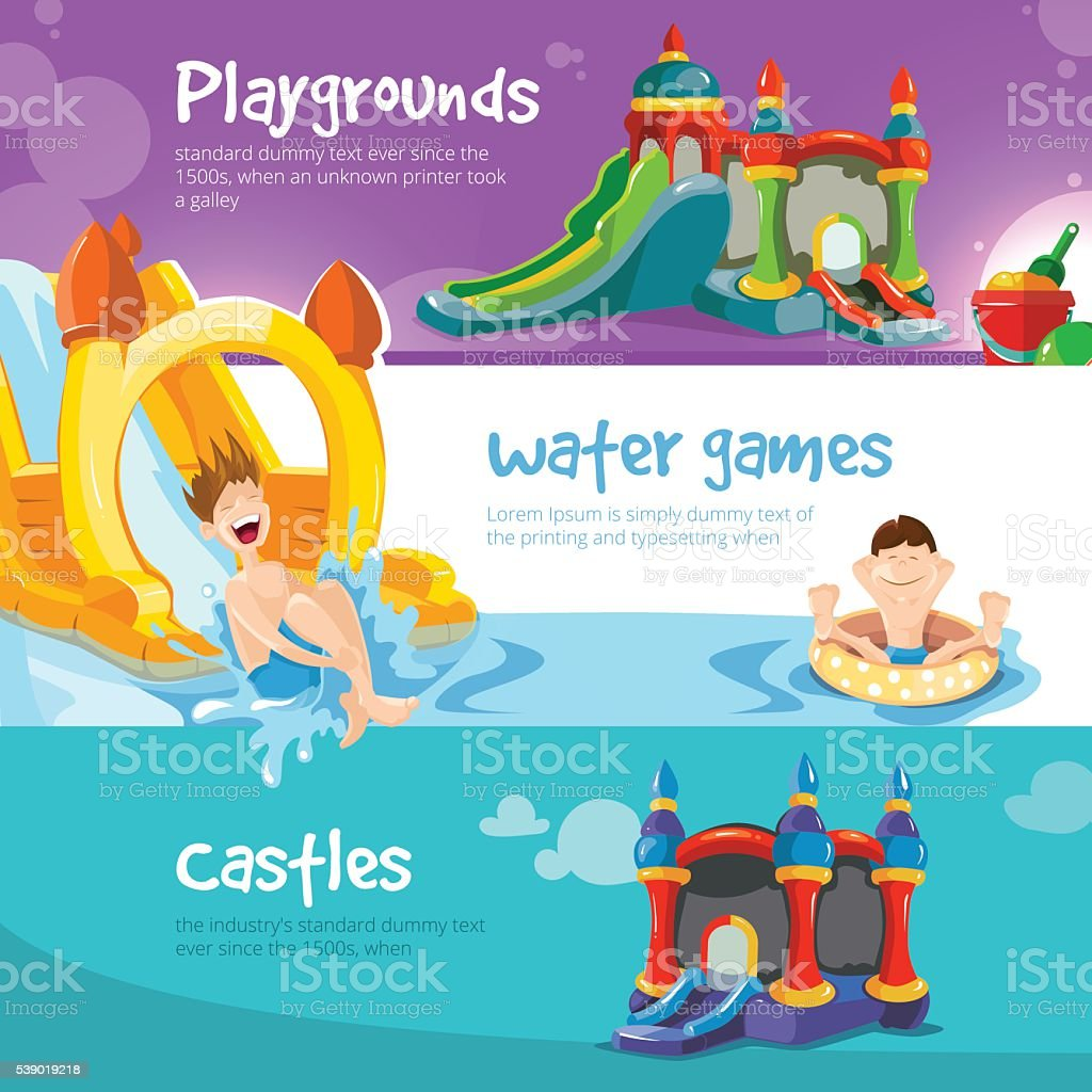 inflatable castles and childrens hills on playground vector art illustration