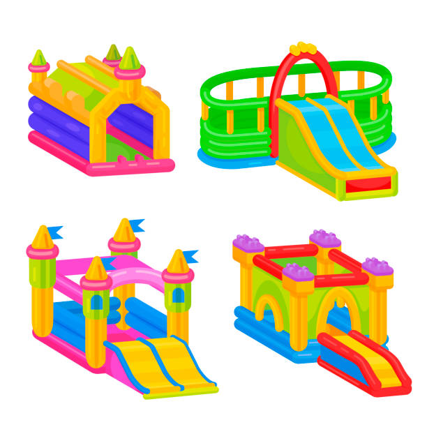 Inflatable colorful castle for outdoor kid fun vector art illustration