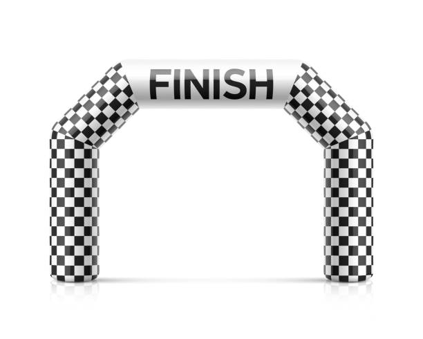 inflatable finish line arch illustration. inflatable archway template with checkered flag - finish line stock illustrations, clip art, cartoons, & icons