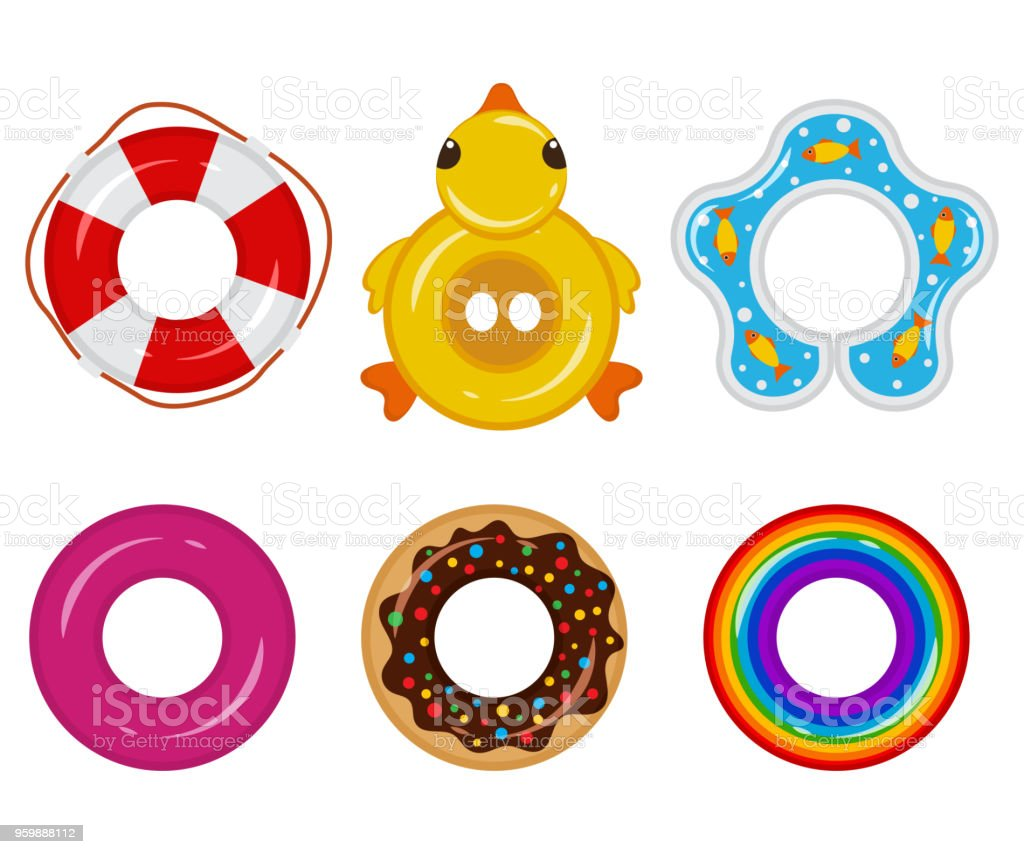 Inflatable float rubber ring for children and adults, for swimming pools, the sea, oceans, rivers, lakes. Life buoy icon top view. Vector flat set isolated on a white background.