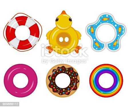 Inflatable float rubber ring vector cartoon set. Lifebuoy icon.