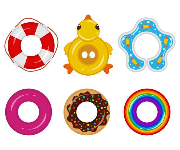 bildbanksillustrationer, clip art samt tecknat material och ikoner med uppblåsbar flottör gummiring för barn och vuxna, för pooler, hav, hav, floder, sjöar. livbojen ikonen ovanifrån. vector platt uppsättning isolerad på en vit bakgrund. - pool