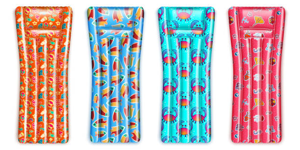 ilustrações de stock, clip art, desenhos animados e ícones de inflatable mattress set - brinquedos na piscina