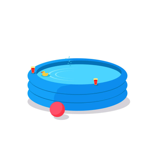illustrations, cliparts, dessins animés et icônes de illustration vectorielle gonflable de piscine dans la conception plate - piscine