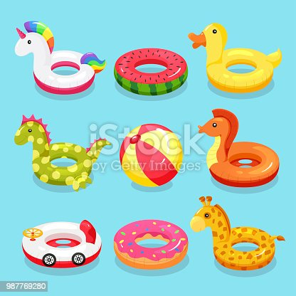 Inflatable swimming ring set. Cute water toys to keep afloat when kids are learning to swim. Vector flat style cartoon illustration isolated on blue background
