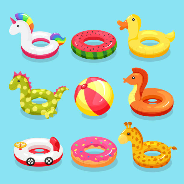 inflatable swimming ring set - zabawka stock illustrations