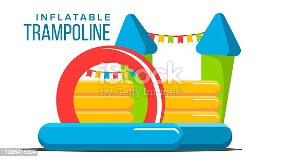 Inflatable Trampoline Vector. Playground Toy. Castle, Tower. Park Isolated Cartoon Illustration