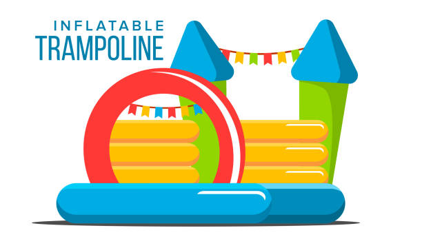 Inflatable Trampoline Vector. Playground Toy. Castle, Tower. Park. Isolated Flat Cartoon Illustration vector art illustration