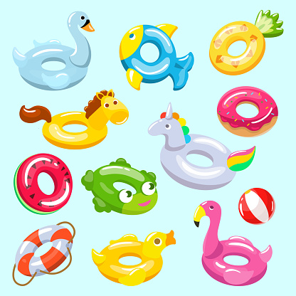 Inflatable vector inflated swimming ring and life-ring in pool for summer vacation illustration set of inflation rubber toys flamingo or unicorn isolated on background