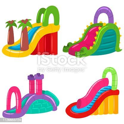Inflatable water slides for kids vector cartoon set.