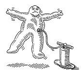 Inflated Swollen Cartoon Human Figure Drawing