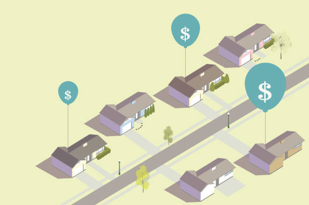 Inflating housing prices illustration vector art illustration