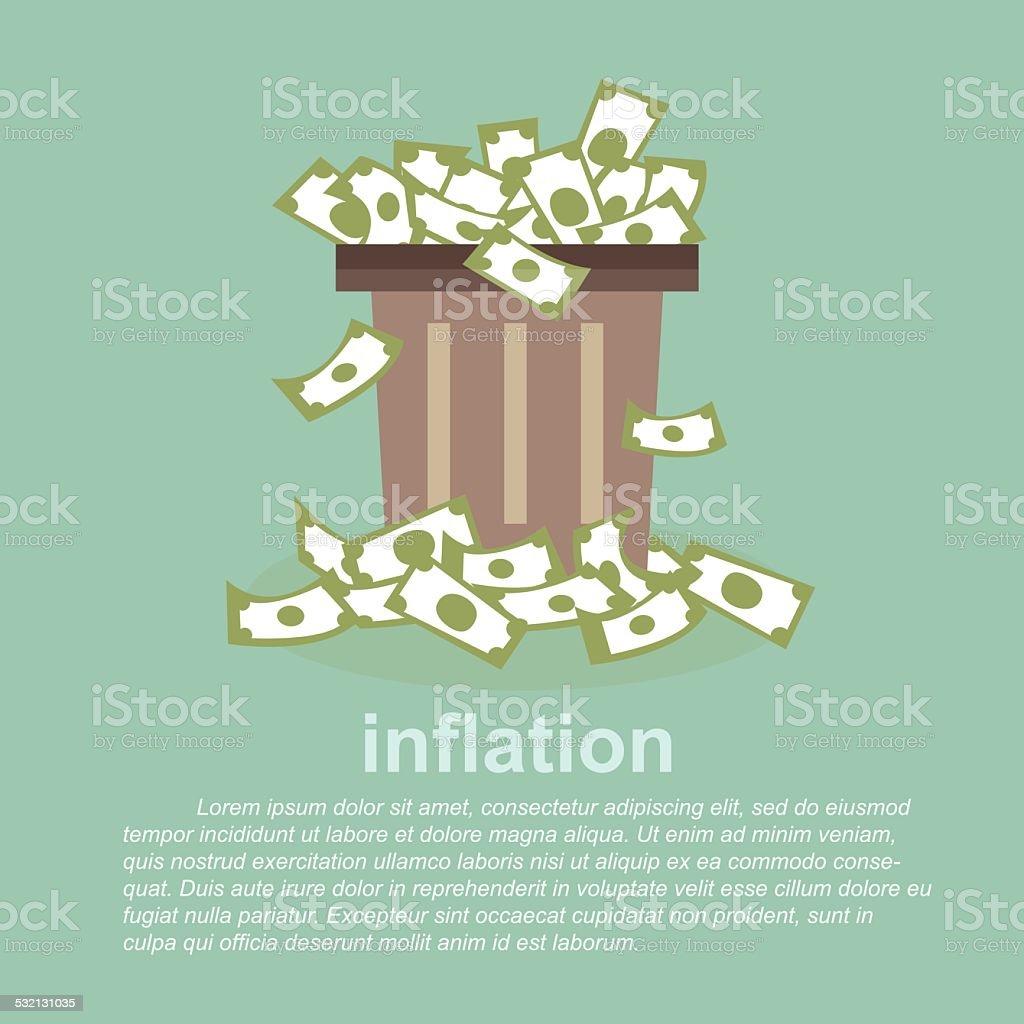 inflation - full  money in a dustbin vector art illustration