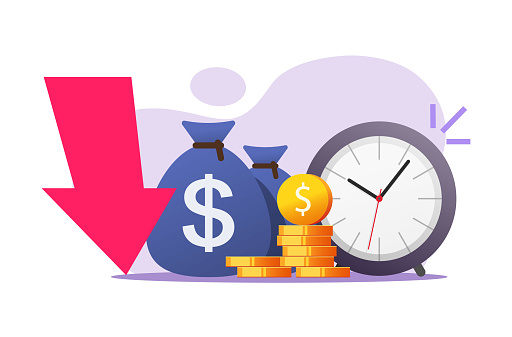 Inflation money time concept vector icon flat cartoon illustration, cash savings value crisis risk, long period term financial bad investment, loss income or profit revenue, economy recession