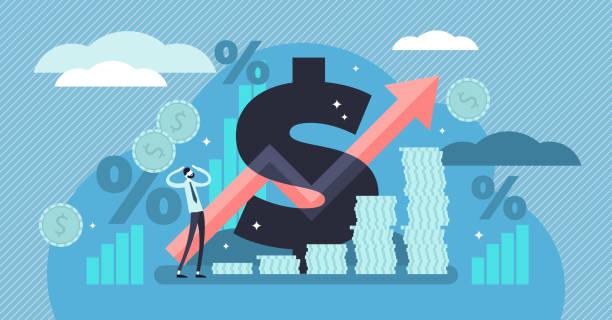 illustrations, cliparts, dessins animés et icônes de illustration vectorielle de l'inflation. concept de personnes minuscule avec le terme de l'économie de base - inflation