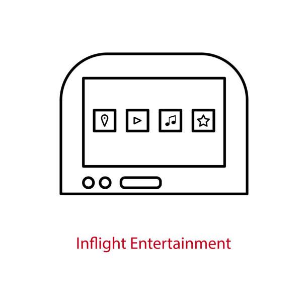 uçak içi eğlence ekranı simgesi. - airplane seat stock illustrations