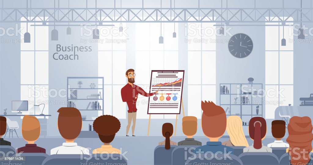 Influence lecture talking about business training at smart coach center. Vector illustration. Conference meeting concept vector art illustration