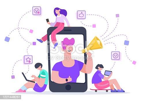 Influencer advertising marketing. Social media promotion, phone screen influencer or blogger internet advertisement promotion vector illustration. Influence blogger, digital smm, web marketing online