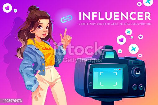 Influencer blogger girl in stylish clothes with crown print on t-shirt pointing on link icon stand in front of recording video camera. Social media live vlog broadcasting. Cartoon vector illustration