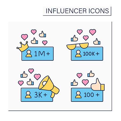 Influencer color icons set