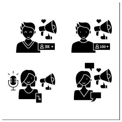 Influencer glyph icons set