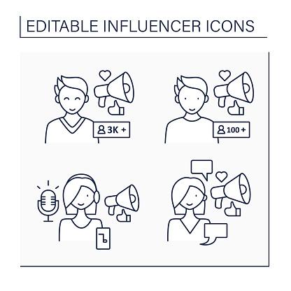 Influencer line icons set