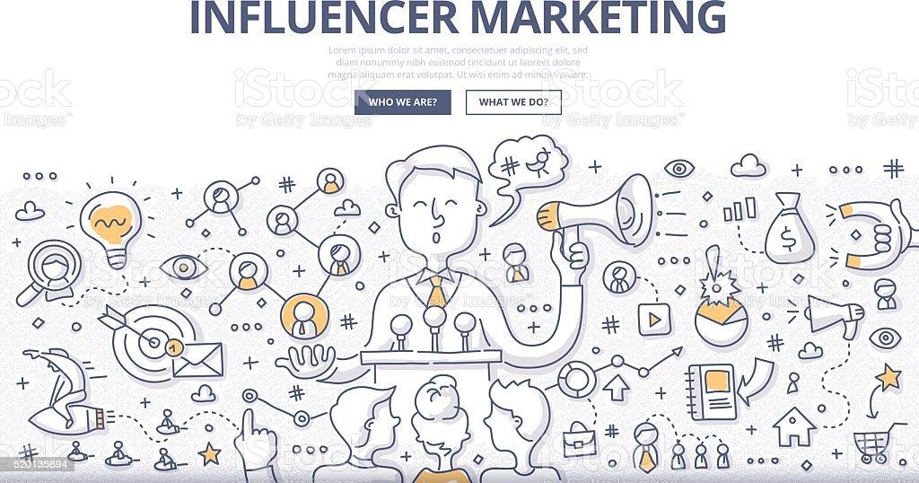 Influencer Marketing Doodle Concept vector art illustration