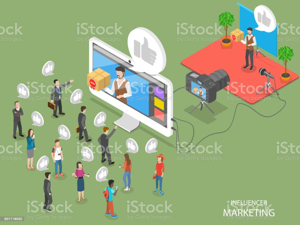 Influencer marketing flat isometric vector concept vector art illustration