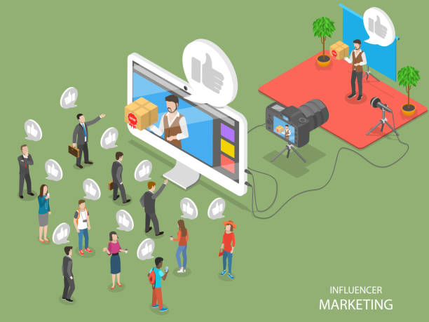 influencer marketing flat isometric vector concept - influencer stock illustrations