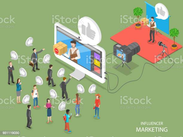 影響力行銷扁平等距向量概念向量圖形及更多互聯網圖片