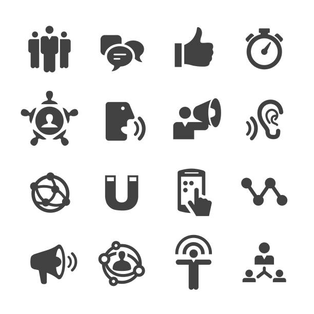 influencer marketing icons - acme-serie - social media icons stock-grafiken, -clipart, -cartoons und -symbole