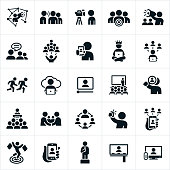 A set of influencer marketing icons. The icons show influencers used to market a product or service.
