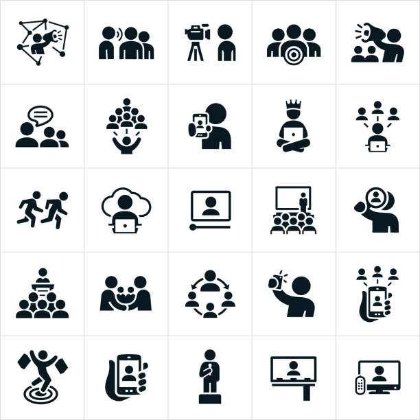 influencer marketing icons - autorytet stock illustrations