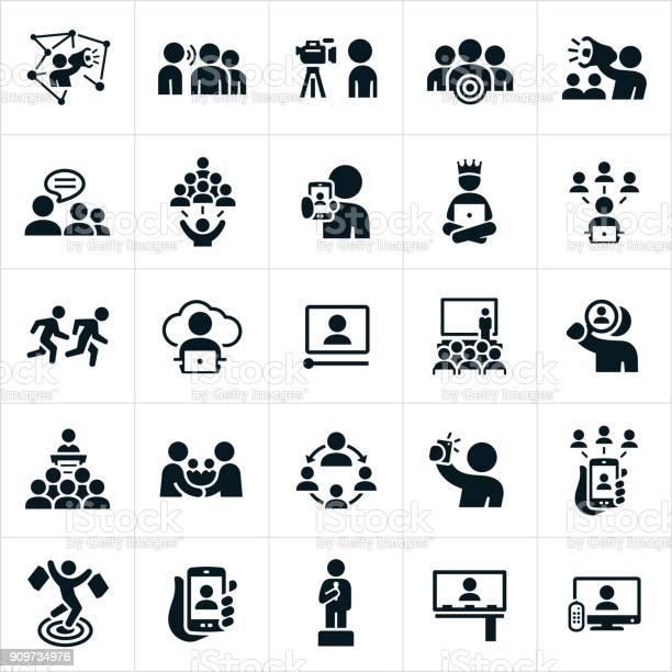 Influencer Marketing Icons - Stockowe grafiki wektorowe i więcej obrazów Billboard