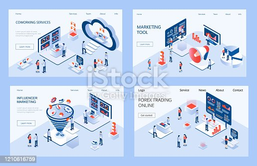 Influencer marketing isometric concept vector for landing page. Impact on B2C customers, potential buyers or consumer products in online market. Marketing e-commerce, data analysis tools.