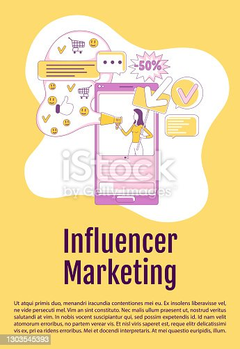 istock Influencer marketing poster flat silhouette vector template. Viral advertising brochure, booklet one page concept design with cartoon characters. Social media promotion flyer, leaflet with text space 1303545393