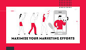 Influencer Marketing Social Media Website Landing Page. Man with Megaphone on Screen and People with Mobile Phones Network Promotion, Smm Internet Web Page Banner. Cartoon Flat Vector Illustration