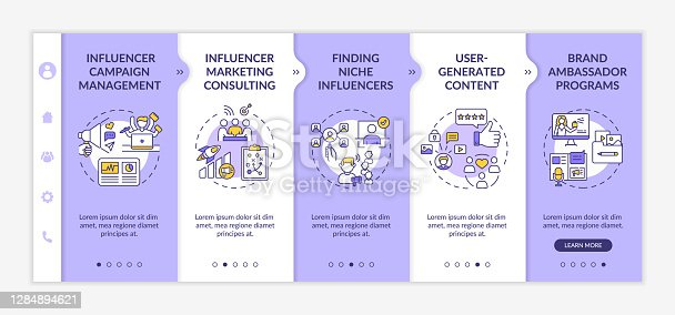 Influencer marketing technologies onboarding vector template. Campaign management. User-generated content. Responsive mobile website with icons. Webpage walkthrough step screens. RGB color concept