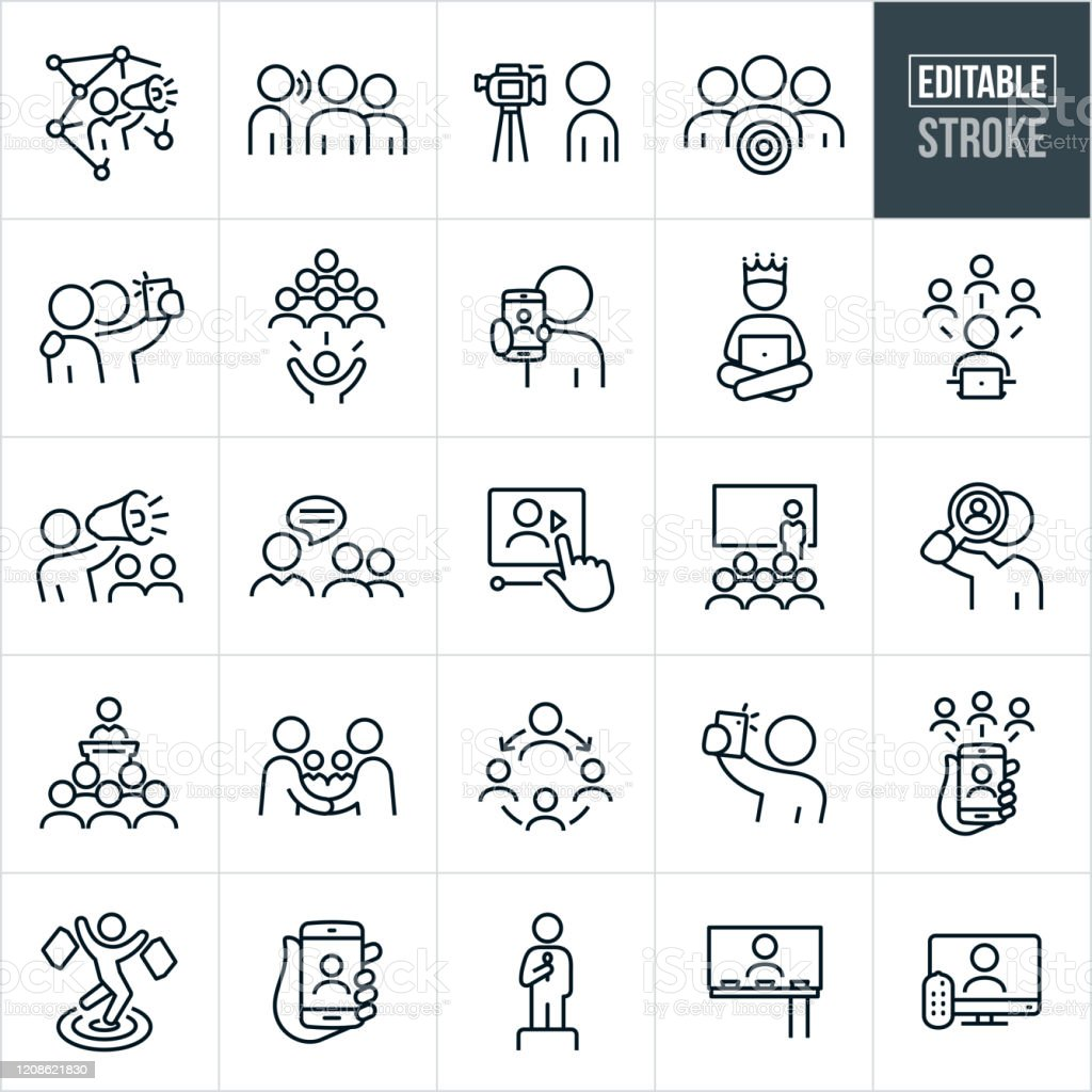 Influencer Marketing Thin Line Icons - Editable Stroke - Grafika wektorowa royalty-free (Billboard)