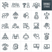 A set of influencer marketing icons that include editable strokes or outlines using the EPS vector file. The icons include influencers, influencer with bullhorn, social medial, word of mouth, influencer taking video of themselves, target audience, fans, customers, selfie, technology, influencer on computer, video, influencer doing a presentation, influencer giving speech, shopper, influencer on a billboard, influencer on the television and other related icons.