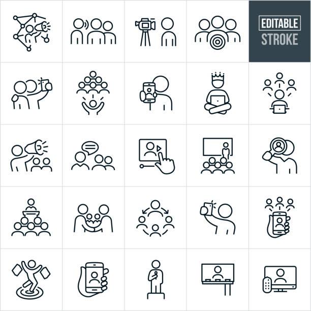 ilustrações, clipart, desenhos animados e ícones de ícones de marketing de influenciadores thin line - curso editado - social media