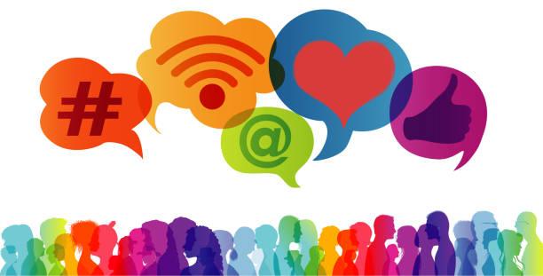 ilustrações, clipart, desenhos animados e ícones de influenciador.grupo de pessoas falando e compartilhando ideias e informações. comunicação de tendências. rede social. conceito de mídia social.símbolos de aplicativos. seguidores.bolha de fala - feedback