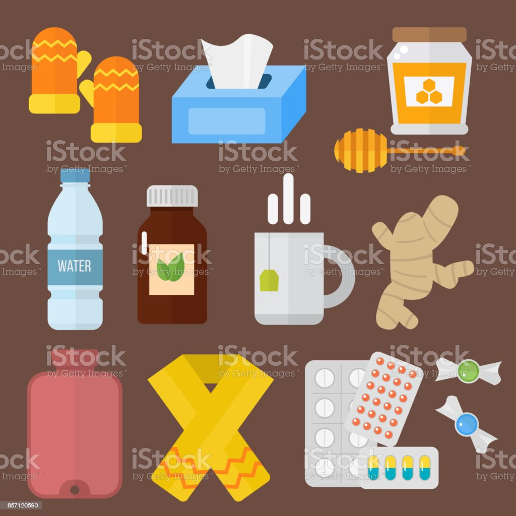 Influenza and cold themed design elements in trendy flat design health medical disease vector vector art illustration