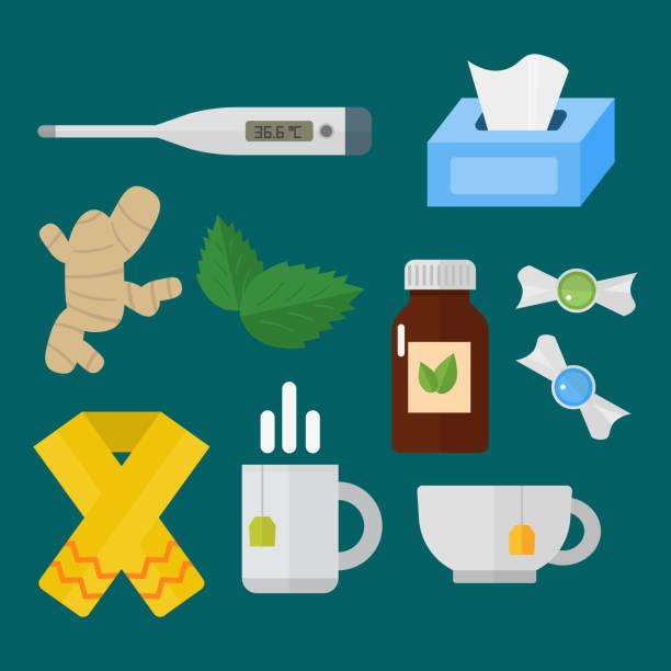 illustrations, cliparts, dessins animés et icônes de grippe et le rhume sur le thème des éléments en vecteur de maladie médicale santé tendance design plat de design - pastille