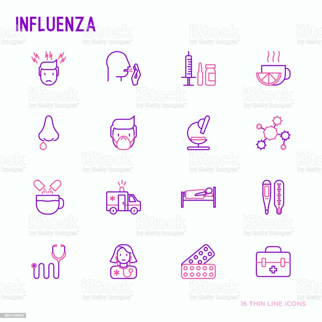 Influenza thin line icons set of symptoms and treatments: runny nose, headache, pain in throat, temperature, pills, medicine. Vector illustration. royalty-free influenza thin line icons set of symptoms and treatments runny nose headache pain in throat temperature pills medicine vector illustration stock vector art & more images of adult