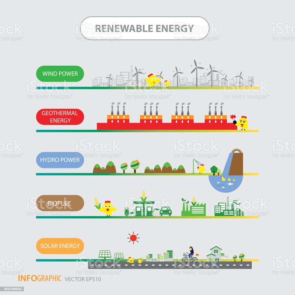 Info Diagramm Erneuerbare Energien Biogreen Ökologie Stock Vektor ...