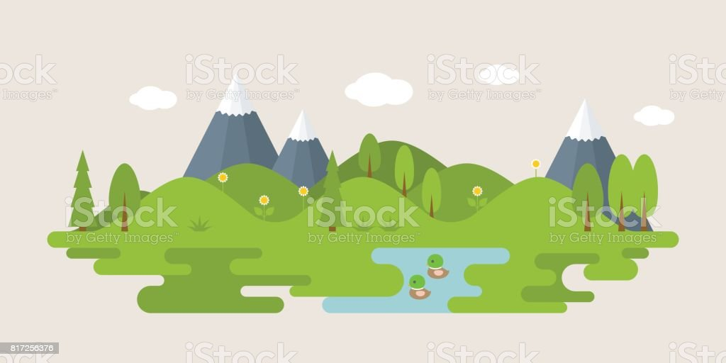 Info graphic and elements of forest with hills vector art illustration