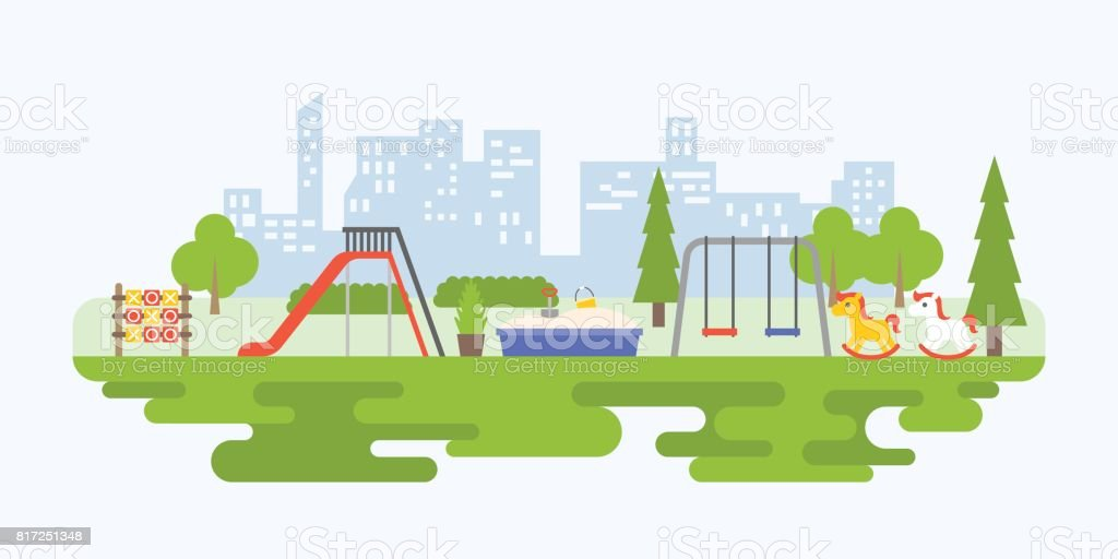 Info graphic and elements of playground equipment for children in urban vector art illustration