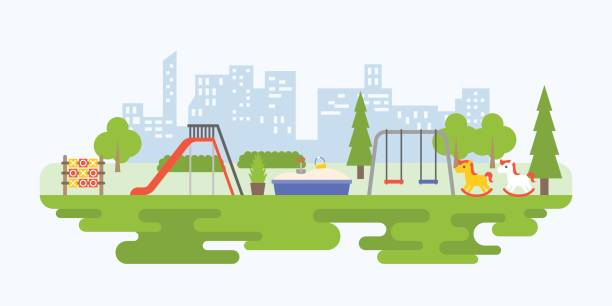 info graphic and elements of playground equipment for children in urban - recess stock illustrations, clip art, cartoons, & icons